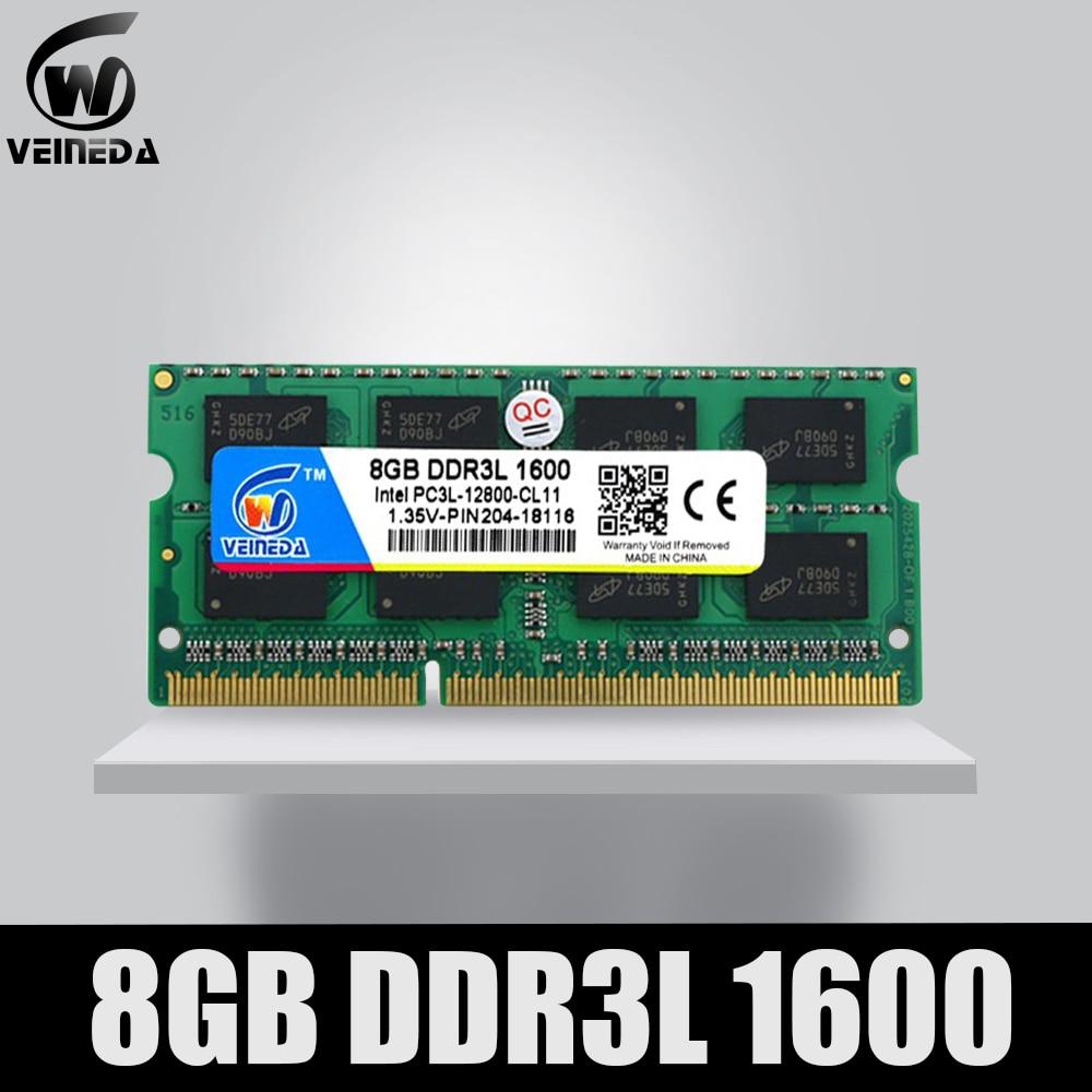 VEINEDA portátil Ram de DDR3L 4GB 8GB 1600 PC3-12800 204PIN memoria DDR3L 1333 PC3-10600 Sodimm Ram Compatible con Intel ddr3 placa base