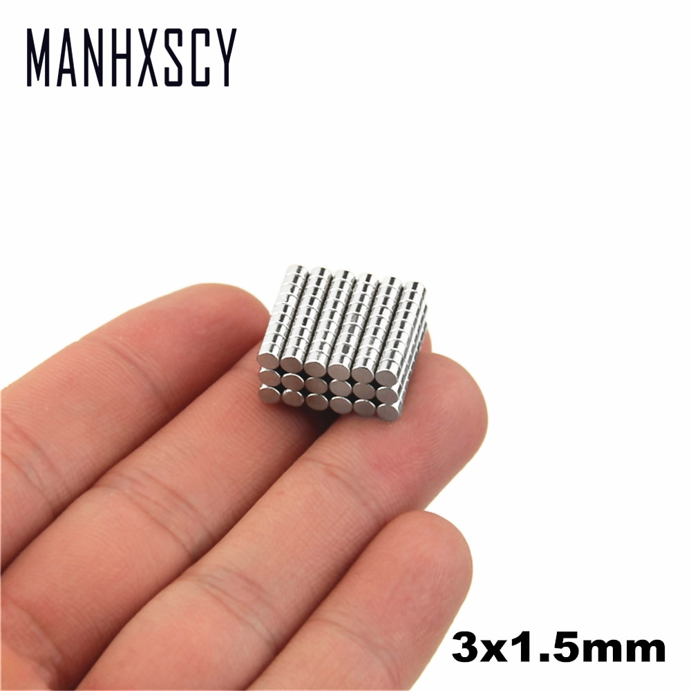 100 stücke Neodym N35 Dia 3mm X 1,5mm Starke Magneten Tiny Disc NdFeB Rare Earth Für Handwerk Modelle kühlschrank Kleben magnet 3x 1,5mm