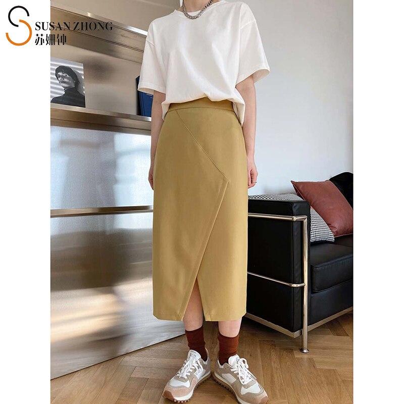 Indi-تنانير مستقيمة للنساء ، ملابس مكتبية أنيقة ، خصر عالي ، مرنة ، شق ، طول ربلة الساق ، موضة الربيع والصيف ، 2021