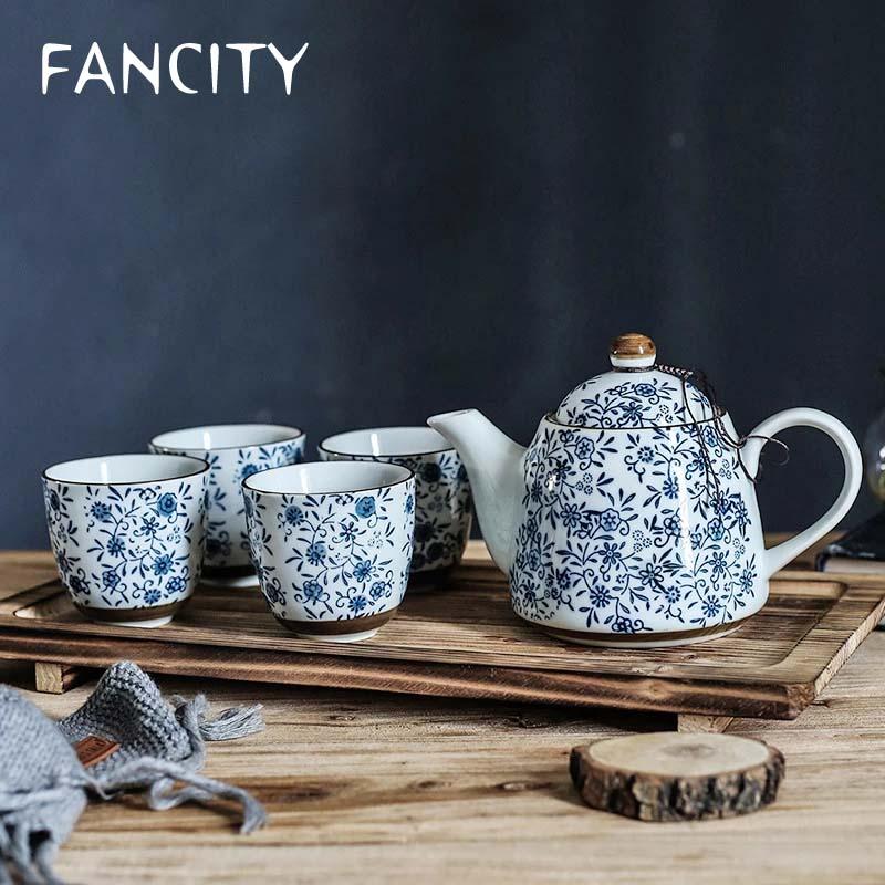 طقم شاي من الخزف الأزرق اللامع ، غلاية شاي الكونفغو ، كوب شاي مع مصفاة ، أفضل هدية ، 4 أكواب شاي