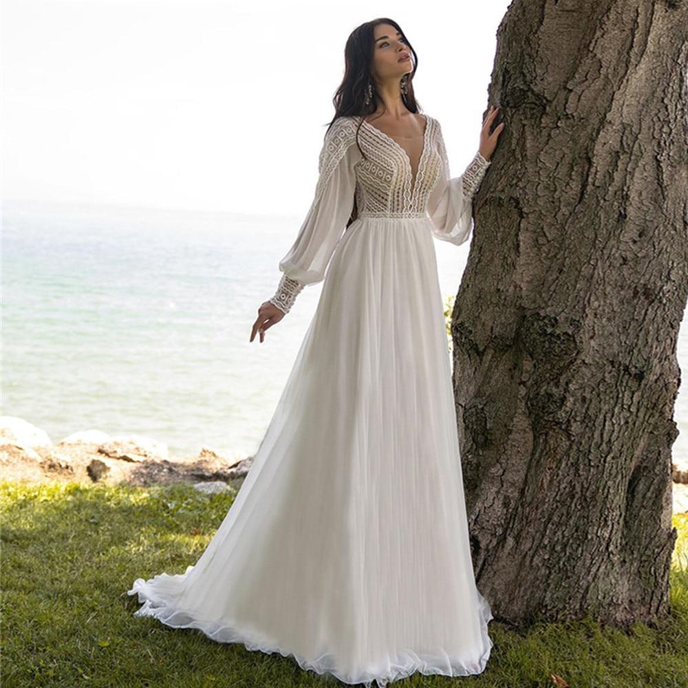 Promo Boho Weddding Dresses Chiffon V Neck Lace Long Puff Sleeves Sweep Train A-Line Beach Bridal Gowns Robe De Marie Custom Plus Size