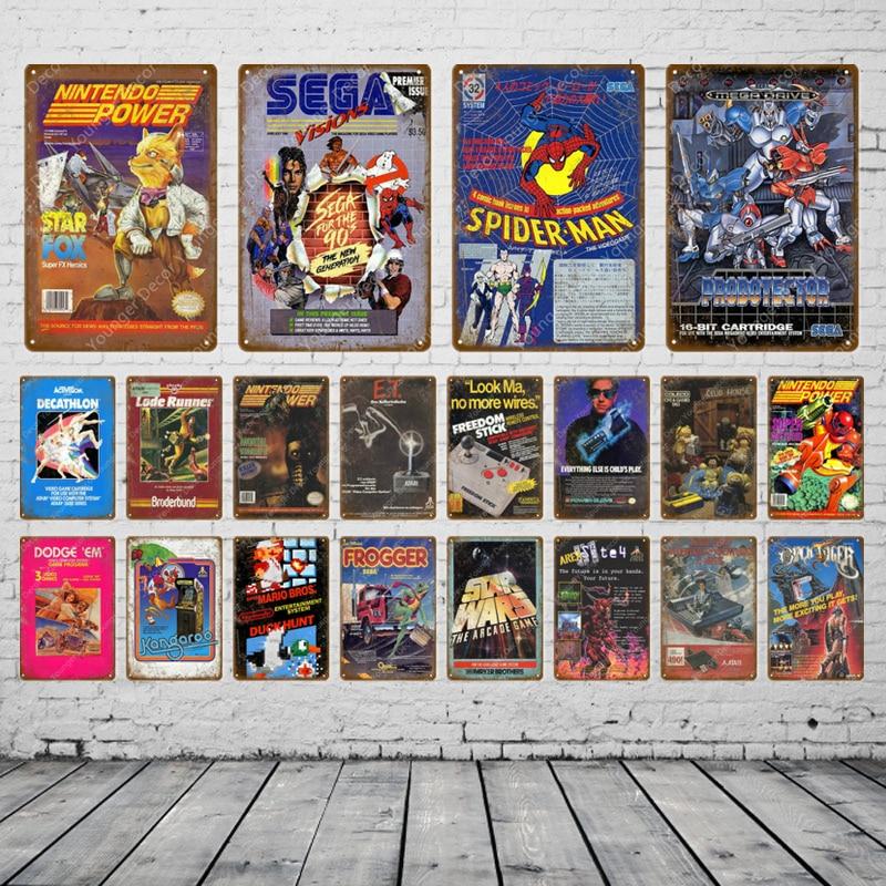 Póster de videojuegos de dibujos animados para videojuegos, señales de Metal para videojuegos, pegatinas de pared para Pub Bar Club, decoración para el hogar, placa de Sega Visions