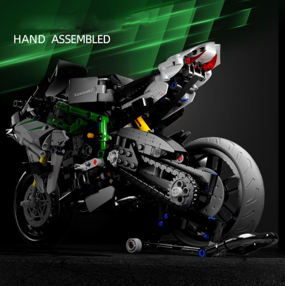 Technical scale motorcycle building block Kawasaki ninja motor vehicle model steam assembly brick toy collection for boys gifts
