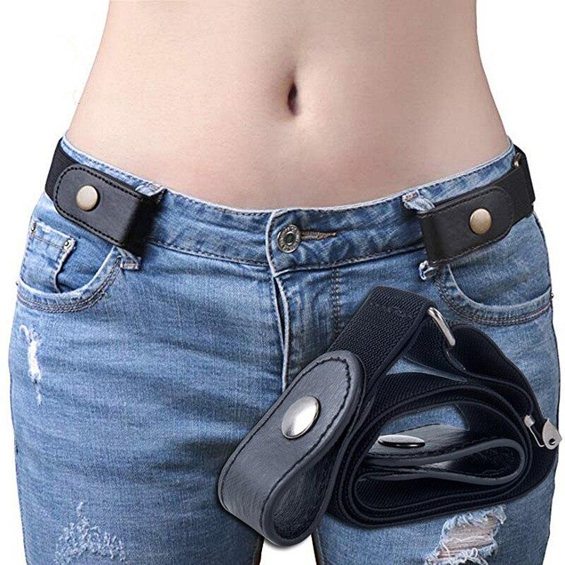 FRALU jeans women's punk style buckle-free belt dress ladies slim sports trend comfortable elastic n