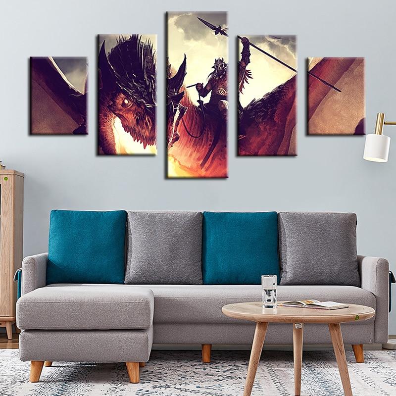 Lienzo pintura abstracta arte de pared Modular 5 piezas Fire Dragon Poster sala de estar decoración del hogar marco impreso HD