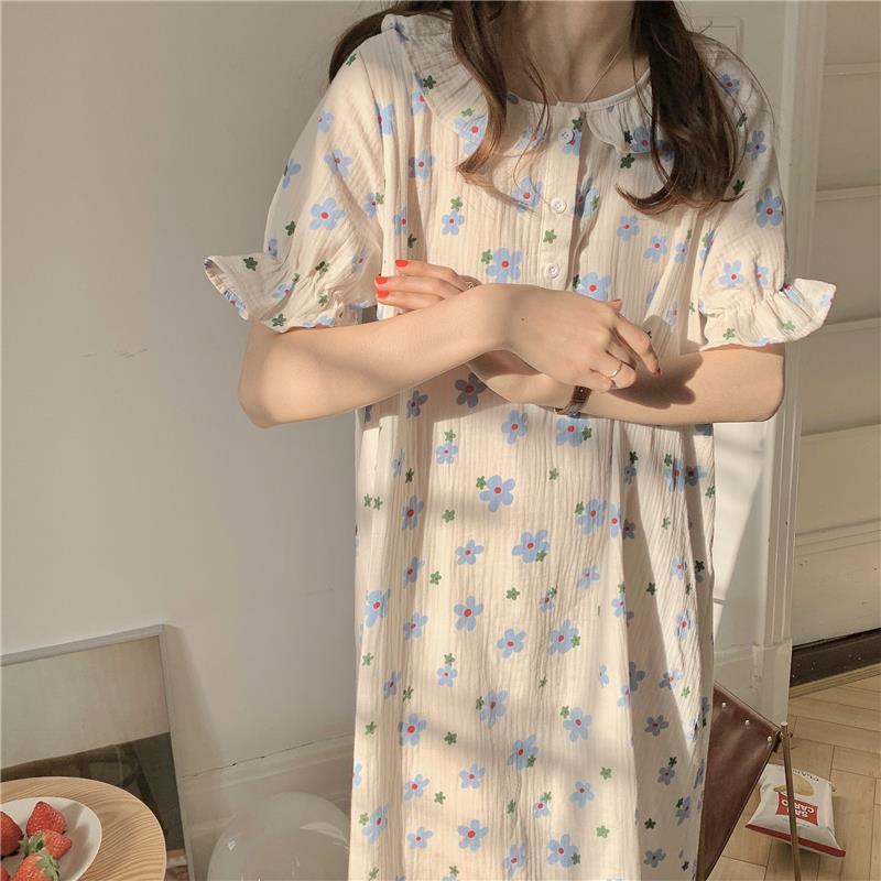 Фото - Ночная рубашка хлопковая Ночная сорочка Женская Корейская Ночная Рубашка домашняя одежда летняя Ночная сорочка с коротким рукавом женская... сорочка женская iv30248
