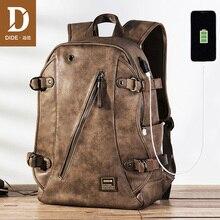 DIDE USB Opladen Anti diefstal Lederen School Rugzak Tas Voor tiener mode mannelijke Waterdichte reizen laptop rugzak Mannen