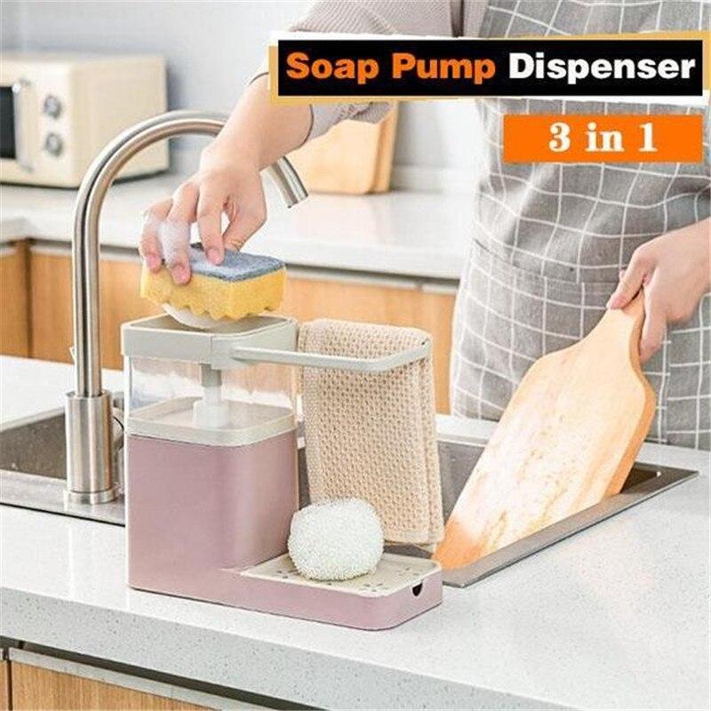 3 em 1 combinação de limpeza da cozinha cremalheira dispensador bomba sabão esponja titular toalha chá multifuncional rack cozinha