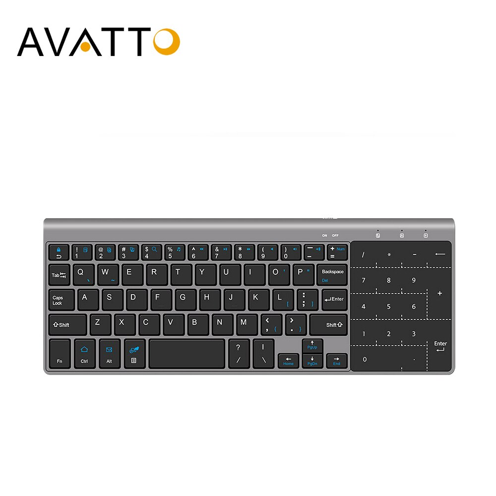 AVATTO Ultra-delgada de 2,4 GHz inalámbrico Multimedia Mini teclado con Digital teclado ratón Touchpad para Windows Android iOS PC portátil