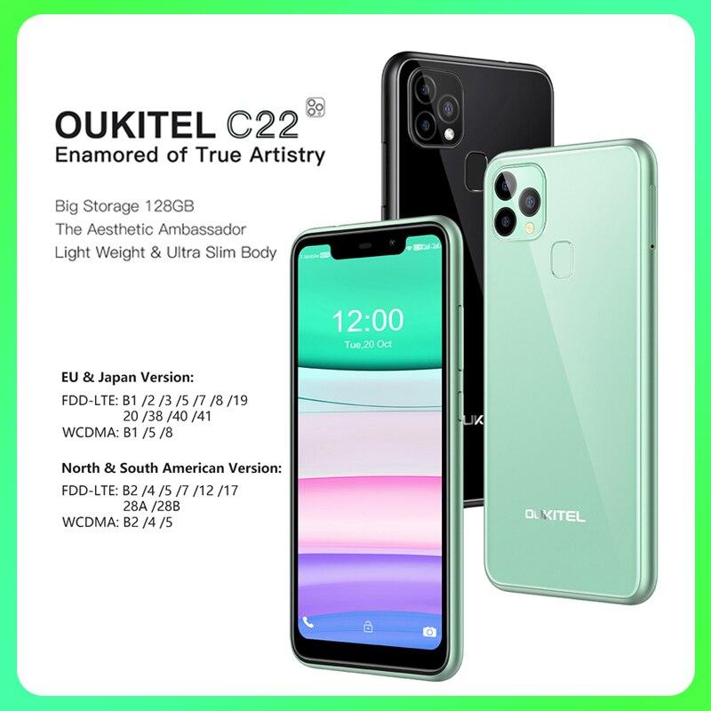 Global Version OUKITEL C22 Smartphone Celular Phone 5G 4GBRAM 128GBROM Triple Camera Light Weight 2.5D 2.0Ghz Mobile Phone