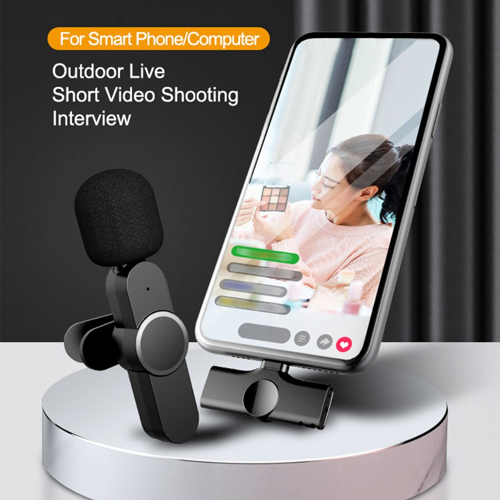 Wireless Lavalier Microphone Portable Mini Mic for IPhone for Android Live Broadcast Pickup Portable Mobile Collar Mic enlarge