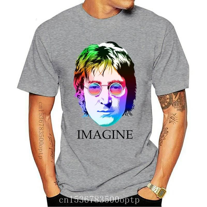 New John Lennon punk Rock Printed Funny T-shirt Men Humor Casual College Mens The Guitar Hip Hop T Shirt cotton high quality