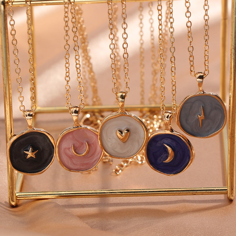 Moon Star Lightning Pendant Necklace for Women Engagement Party Jewelry Chains Korean Fashion Choker Gifts