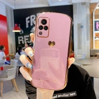 luxury electroplated love heart phone case for vivo s9 s7 x30 x50 x60 pro x27 soft silicone camera full cover
