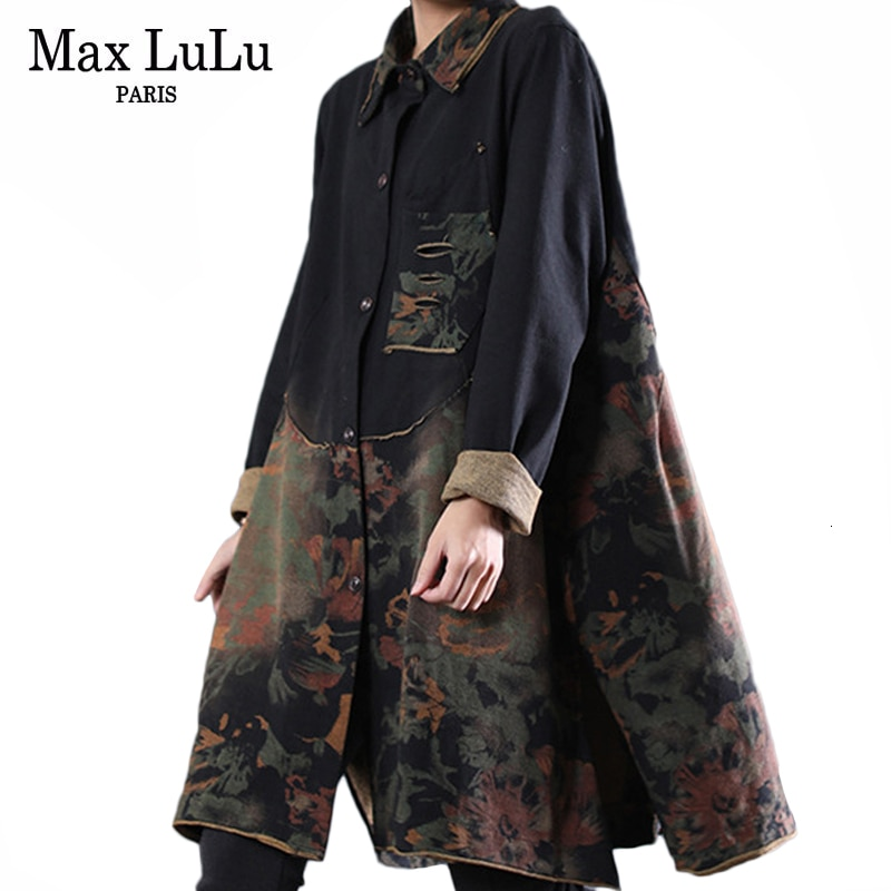 Max LuLu 2019 Outono Roupas Coreano de Luxo Ladies Gothic Mulheres Streetwear Patchwork Longo Trench Coats Casual Floral Casacos