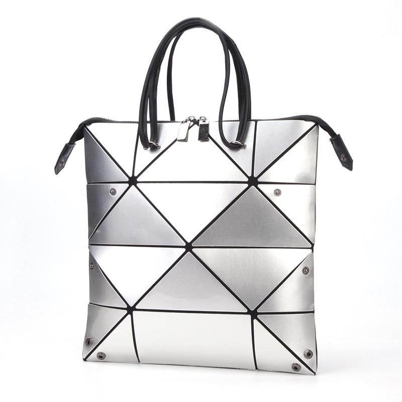 موضة براءات الاختراع والجلود المرأة حقائب مثلث هندسي الإناث حقيبة متغير طوي حقائب كتف سعة كبيرة حمل الحقائب