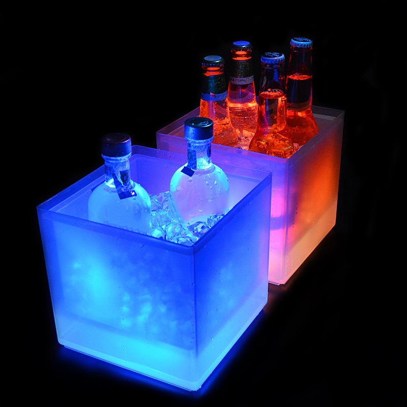 LED دلو للثلج 5L مبرد نبيذ الألوان تغيير الشمبانيا دلو النبيذ للحزب شريط المنزل ملهى ليلي تضيء ويسكي دلو للثلج