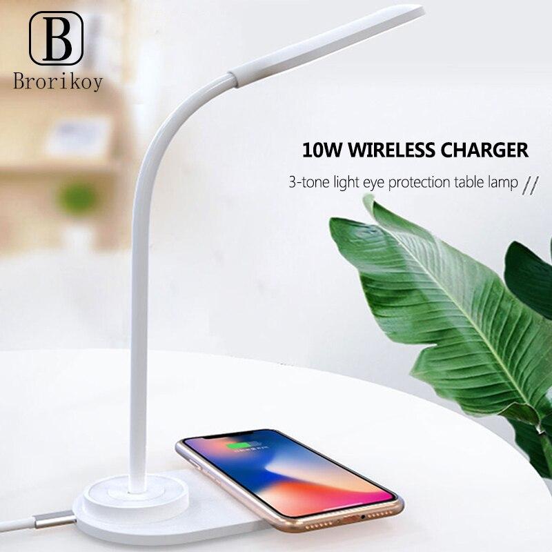 2 en 1 lámpara de escritorio LED de protección ocular almohadilla de carga inalámbrica 10W carga rápida para iPhone 11pro Xs Max X 8 Samsung Dock iluminación de mesa