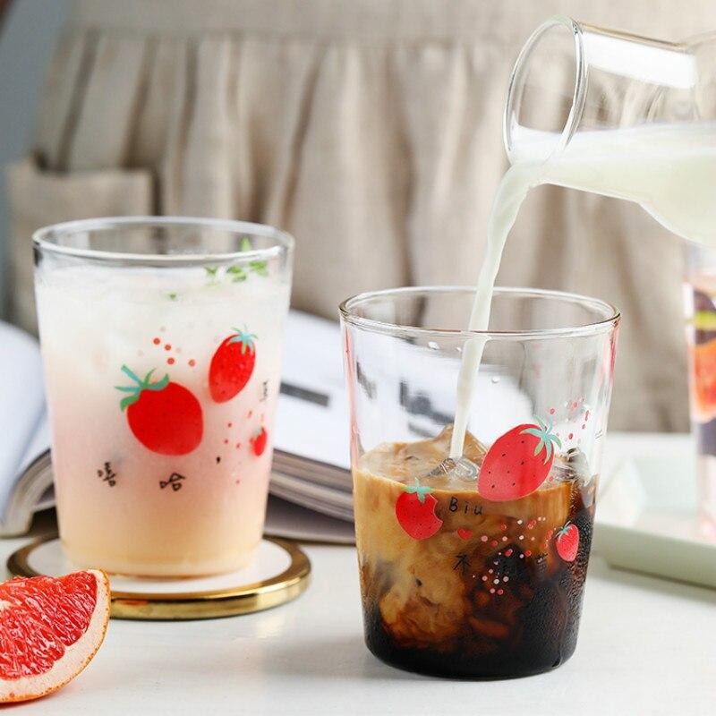 Tazas De vidrio De fresa, Pajita para microondas, tapa segura para jugo, Simple, creativa, transparente, para exteriores, AC50GC