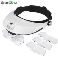 repair tool magnifying glass with led lights 1x 1 5x 2x 2 5x 3 5x 2led head mounted illuminating magnifier glasses loupe