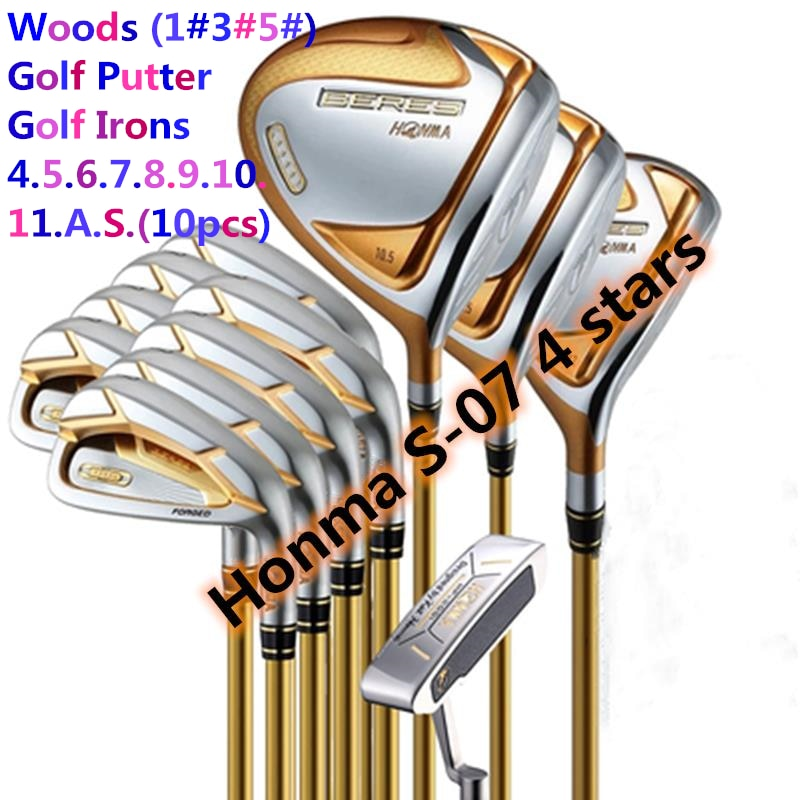 New Golf Complete Club Sets  Honma Beres S-07 4-Star Driver+Fairway+Iron+Putter (14Pcs) Graphite Shaft with Head Cover(NO Bag)