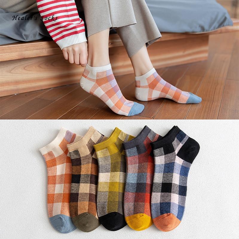 Funny Kawaii color women socks cotton Lattice fashion Harajuku city happy cute Japanese College style gift retro Invisible