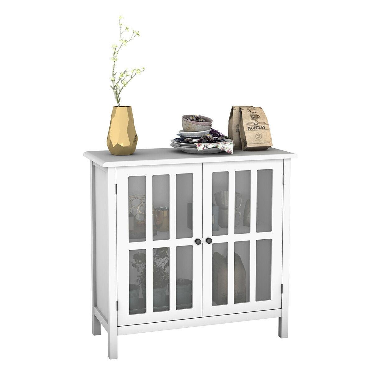 Costway-armario de almacenamiento para Buffet, puerta de vidrio, lateral, consola, mesa, servidor,...