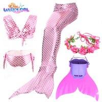 LovelyGirl Little Mermaid Dress Girls Bikini Swimsuit Mermaid Tails with Monofin Mermaid Among Costume Children Cosplay Party