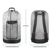 laundry bag backpack with shoulder straps mesh pocket durable nylon backpack clothes hamper bag with drawstring closure washable
