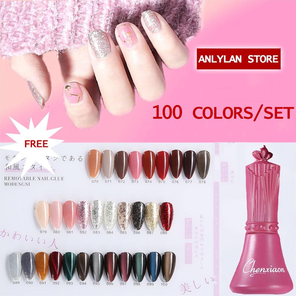 2020 Hotsale 100 kolorowe paznokcie zestaw żelowy żel UV do paznokci polski zestaw lakier do paznokci zestaw do Soak Off cekiny zestaw żelowy