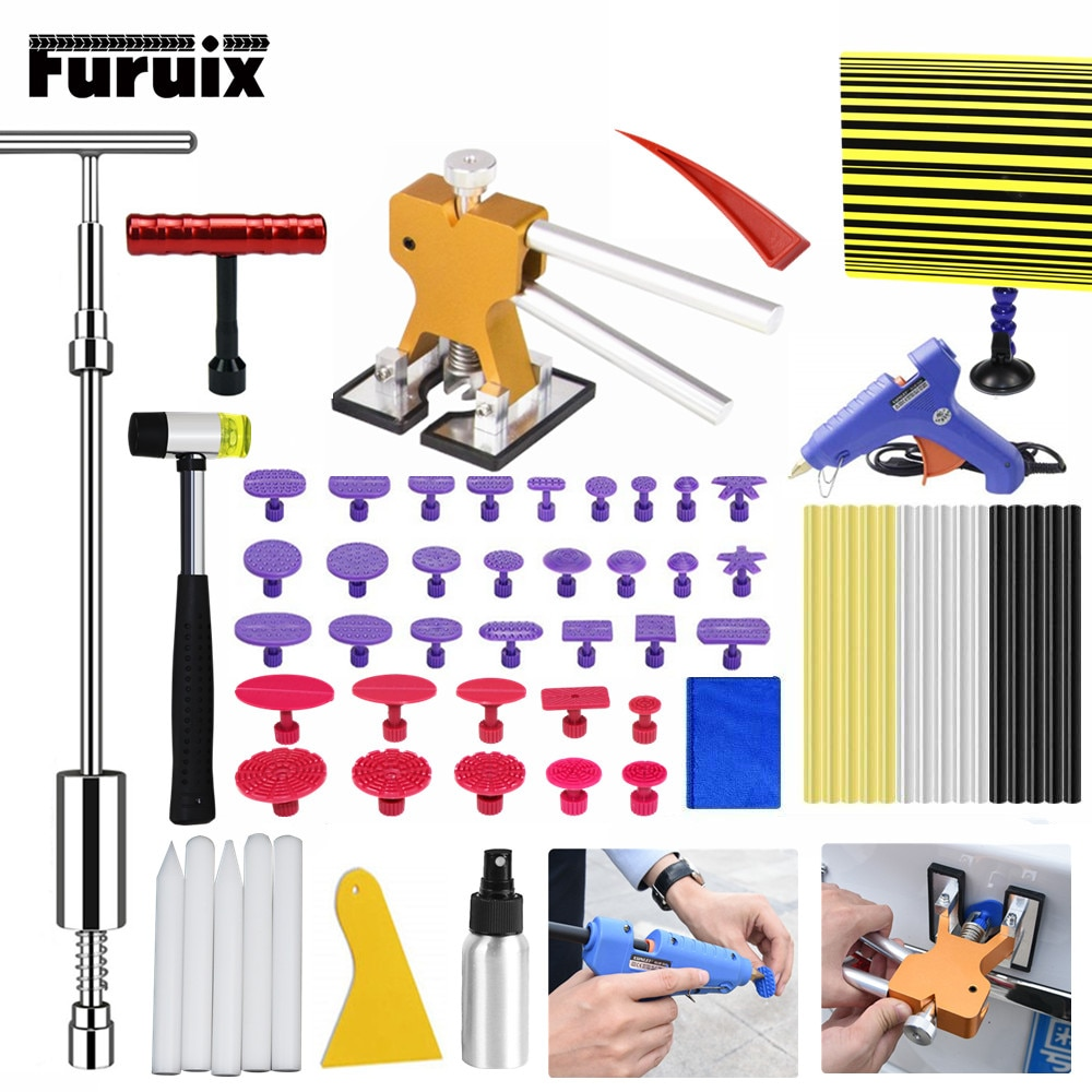 FURUIX  Paintless Hail Removal Dent Puller Lifter  Tools Tap Ding Hammer Line Board HAND TOOLSET