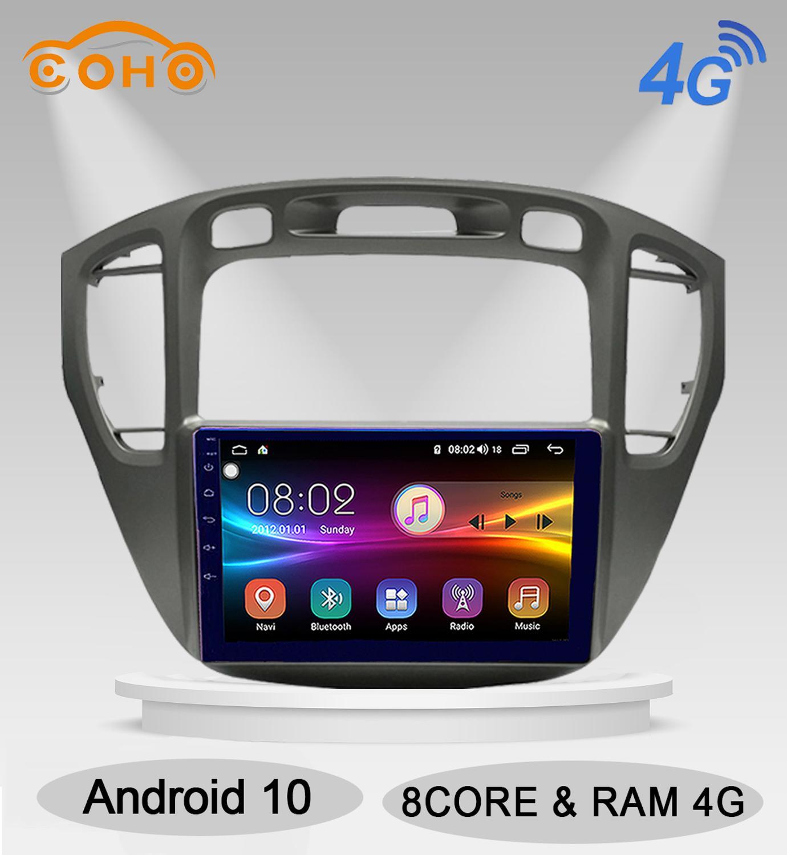 Highlander android 10.0 8 núcleo 4 + 64g ips tela gps android auto navegador rádio do carro para toyota highlander 2002