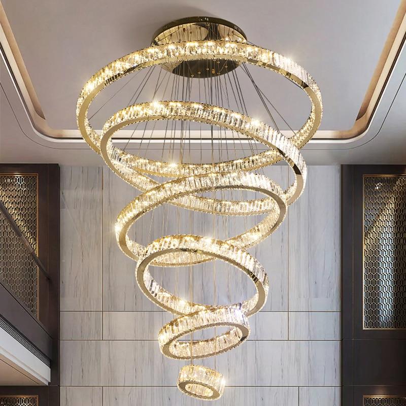 تورنادو كريستال مزدوج الطابق ثريا كبيرة ضوء الحديثة الفاخرة فيلا الجوف غرفة المعيشة الدائري كريستال الثريا