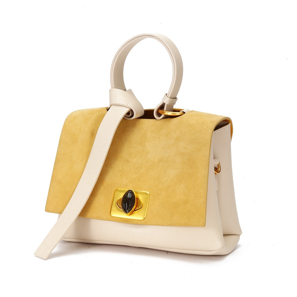 جلد الغزال اللون المرقعة حقائب الموضة حقائب اليد المتوسطة للنساء