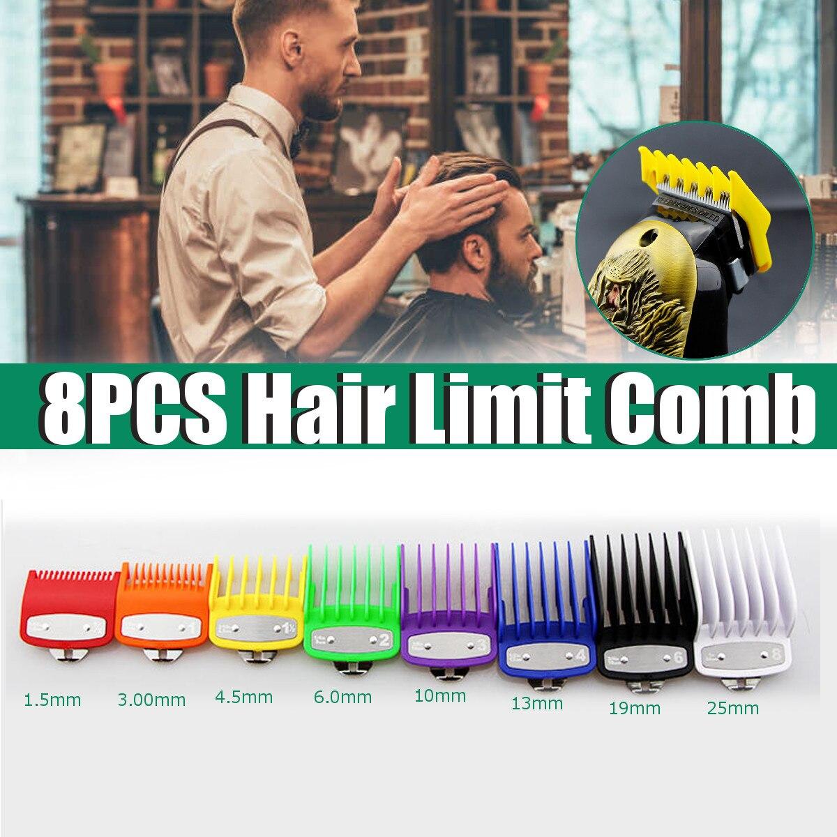 Conjunto Universal de 8 tamaños de maquinillas de corte tipo peine, Guía para cortar y estilizar el pelo, maquinilla de afeitar eléctrica, 8 unidades