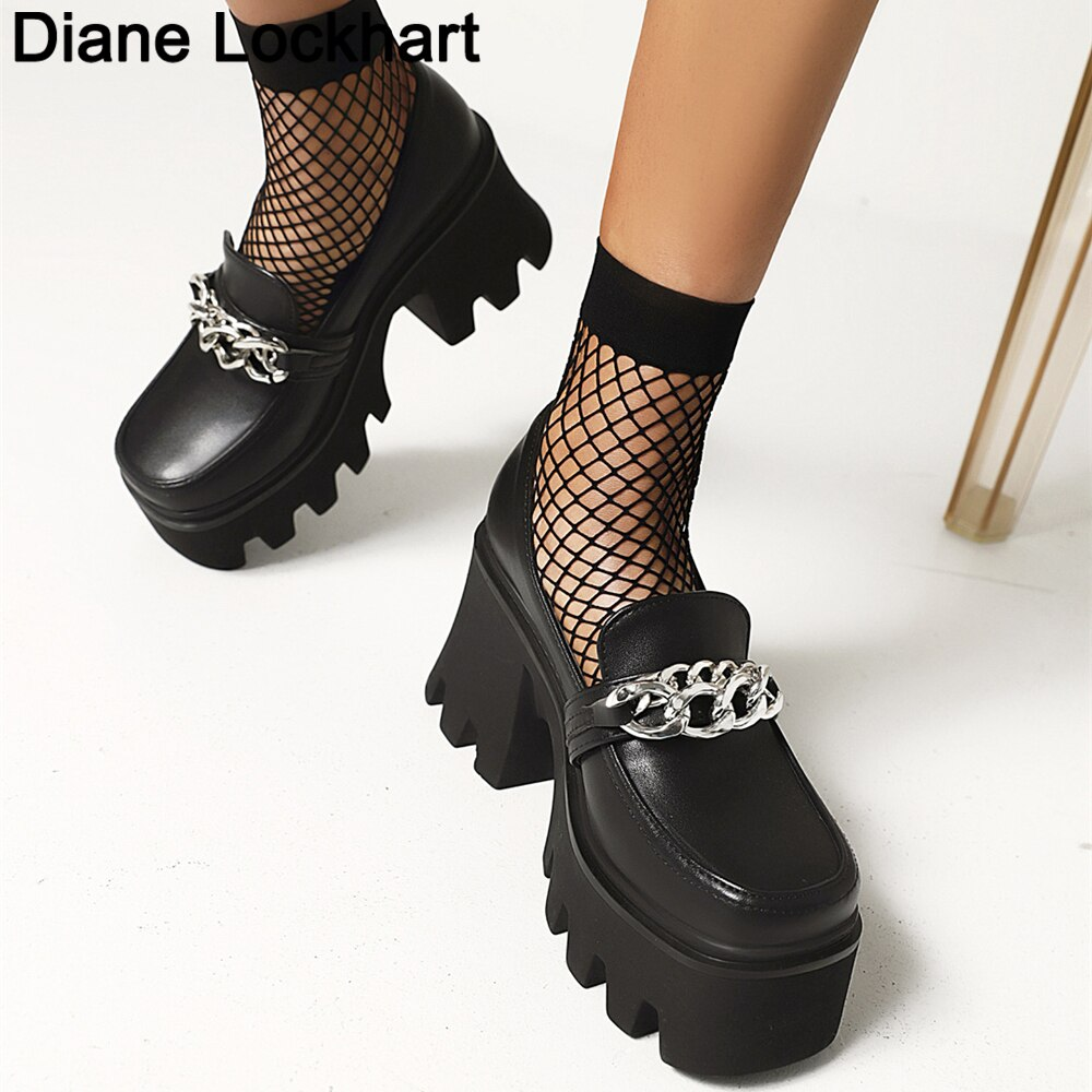 New Fashion Muffin Thick Bottom Women Pumps Punk Round Head Internal Increase Single Casual Party Hi