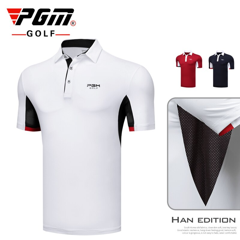PGM Men Training Golf Short Sleeve T-Shirt Fitness Shirts Summer Breathable Quick Dry Slim Sports Shirts A982