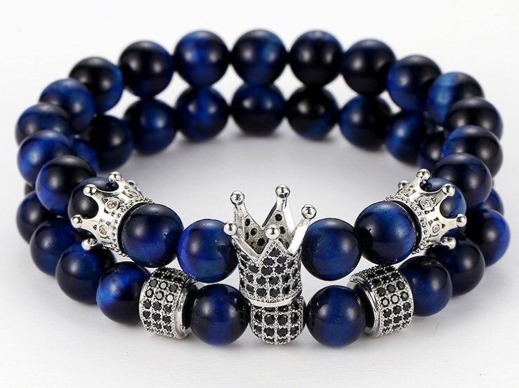 8mm 2 unids/set ikk4 elástico ajustado naturaleza azul Tigereye bead micro pave cz zircon corona de circonia cúbica pulsera