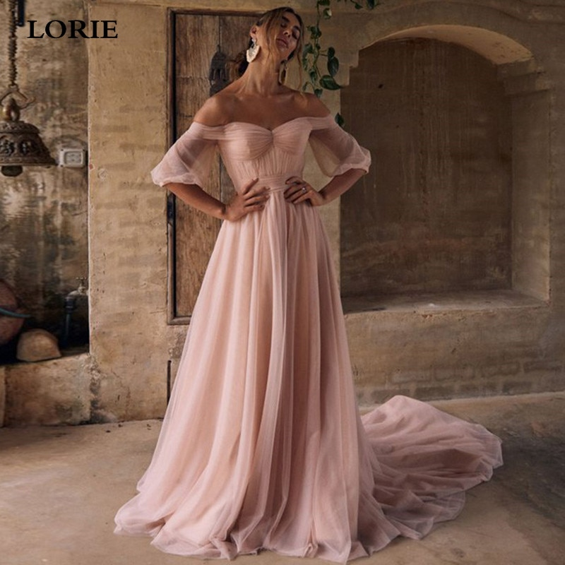 LORIE Pink Bride Dress Puff Sleeve Off The Shoulder Country Wedding dress Sexy Backless Boho Wedding Gown Свадебные платья 2021