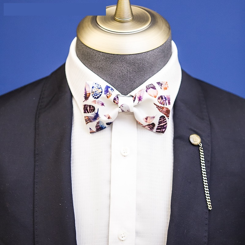 2020 Fashion Men's Bow Tie High Quality White Color Feather Print Bowtie Great For Party Wedding Tie For Men