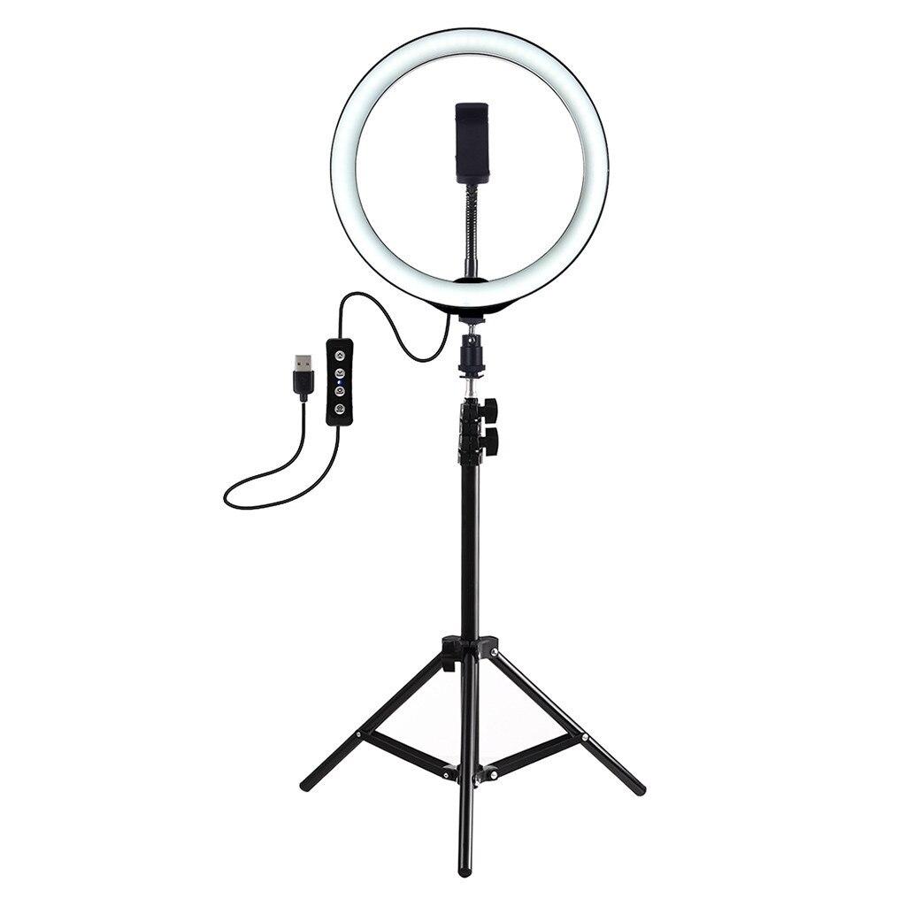 Anillo de luz regulable para cámara de Anillo de luz LED de 26Cm con soporte para trípode soporte para teléfono móvil USB 3 modos de luz LED para estudio de vídeo y fotografía Kit