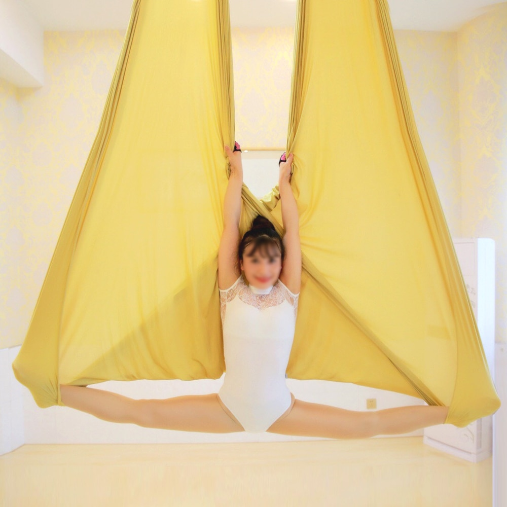 5*2.8M yoga swing aerial inversion yoga hammock Solid color anti gravity Air yoga swing home exercise equipme 23 Color