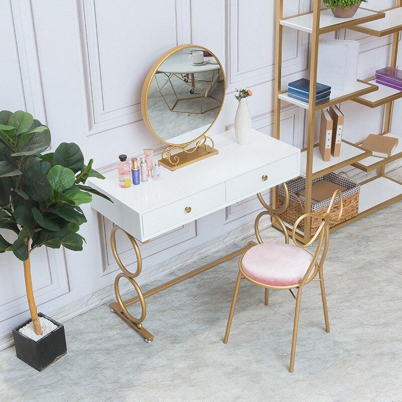 Mesa de penteadeira multifuncional, mesa de decoração para quarto nórdica vermelha e sólida