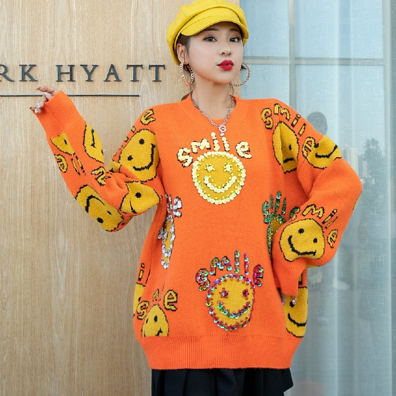 Thailand Tide Brand Autumn and Winter New Loose Round Neck Pullover Cute Letter Printing Smiley Sweater Female Outer Wear enlarge