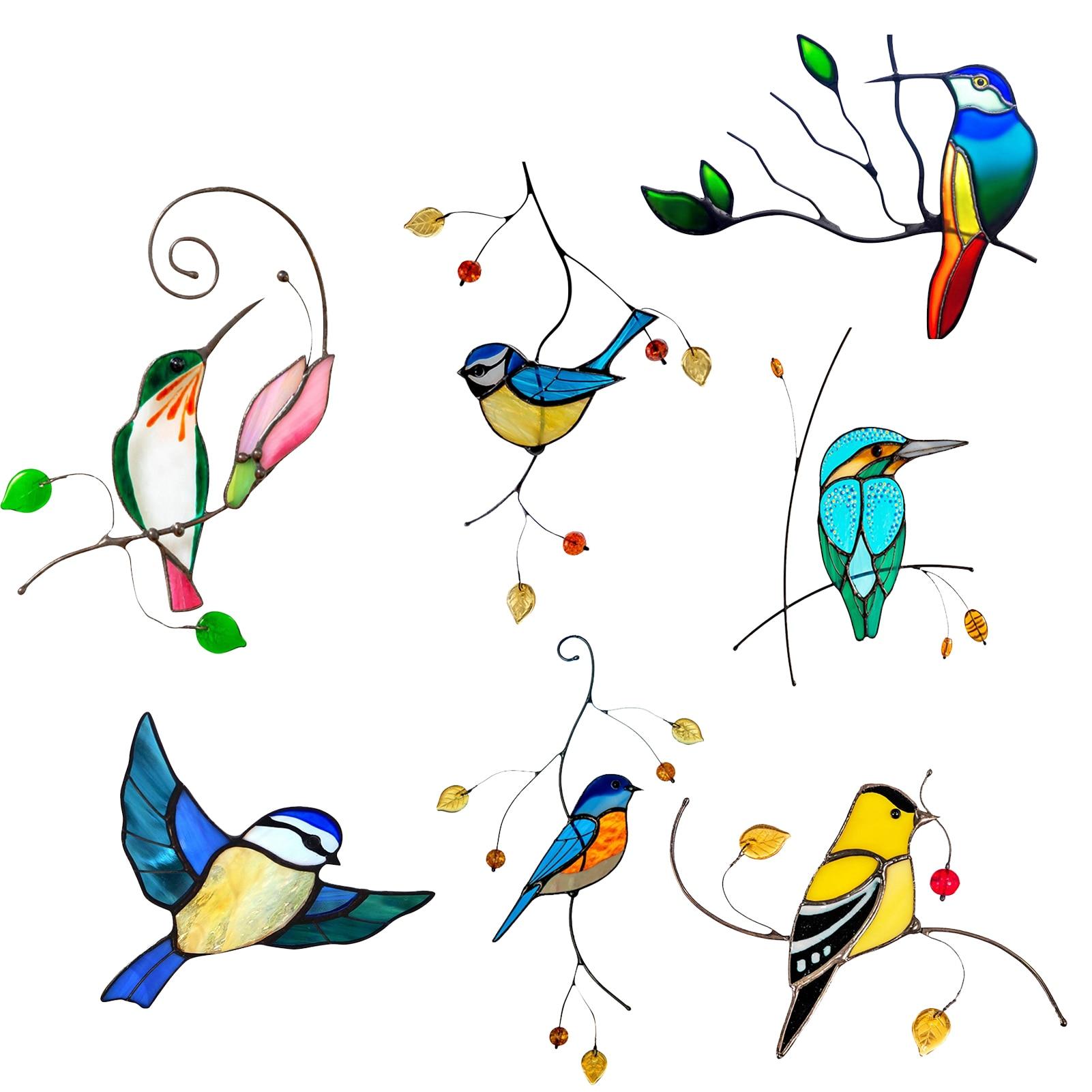 7 шт. пятно Стекло окна портьеры птица настенные наклейки с дизайном «птицы» домашнего декора с милой пандой 3D Автомобильные Наклейки на стены Гостиная украшения домашнего декора