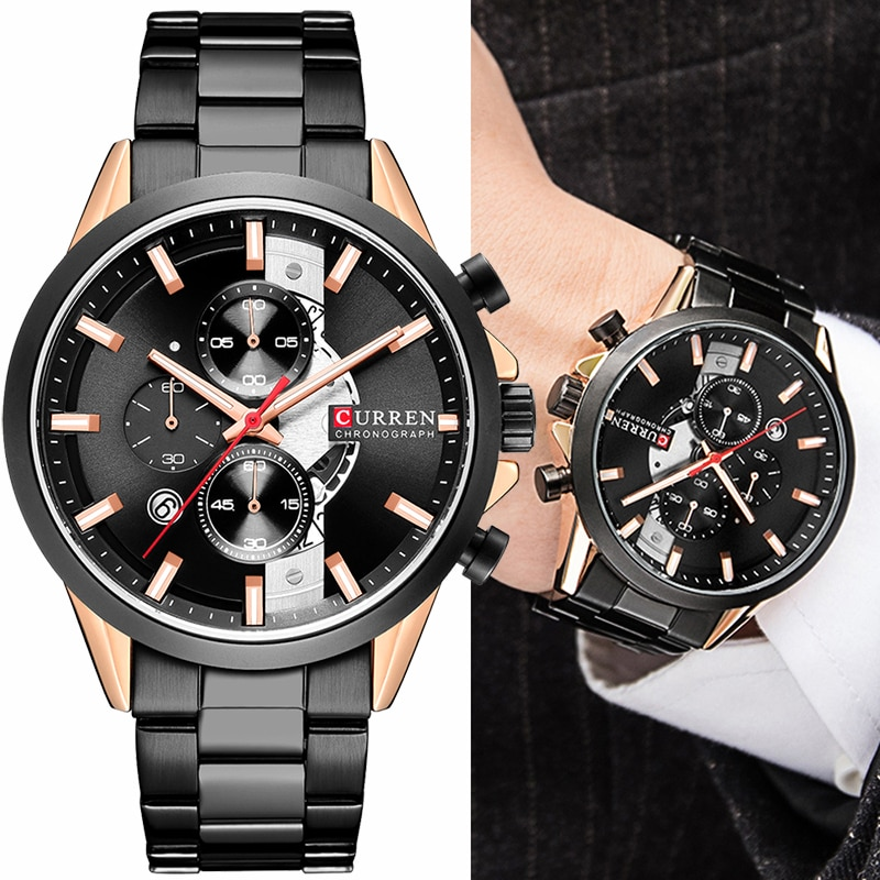 CURREN Luxury Stainless Steel Watches Mens Fashion Chronograph Quartz Men Watch Luminous Hands Sport Male Clock часы мужские curren watch relojes hombres de la marca de lujo curren reloj inteligente montre relojes curren men watch