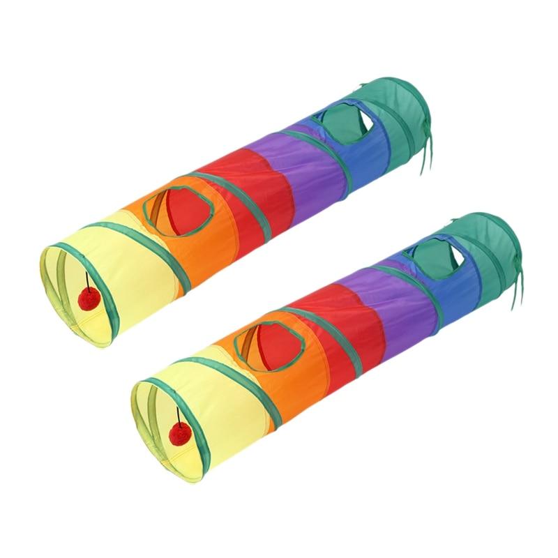 Tubo de Pet con túnel para gatos de 2 uds, Juego plegable, sala de juguetes para gatitos para entrenamiento y con pelotas divertidas y dos agujeros