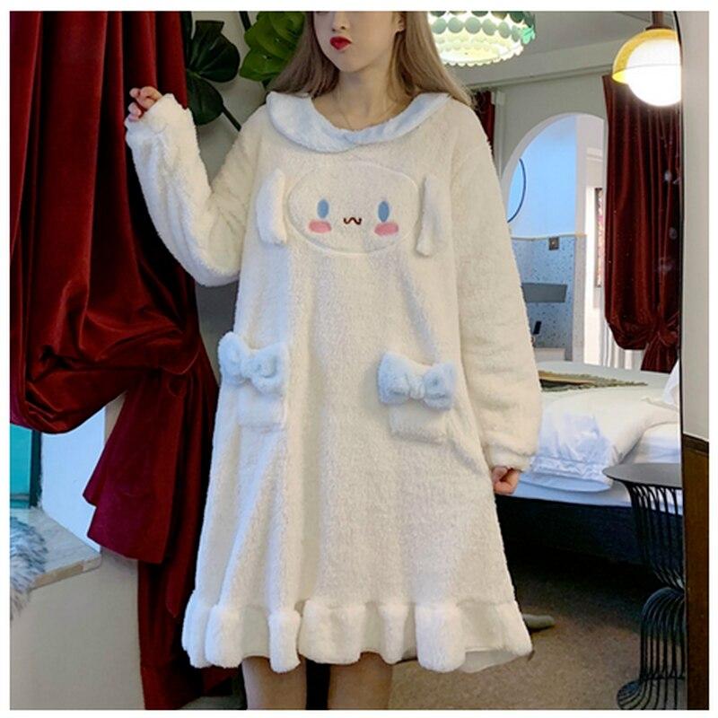 Sweet Coral Fleece Warm Sleepwear Robe Women Cute Ear Doggy Nightgown Girl Lolita Home ClothesAutumn Winter Nightdress Japanese