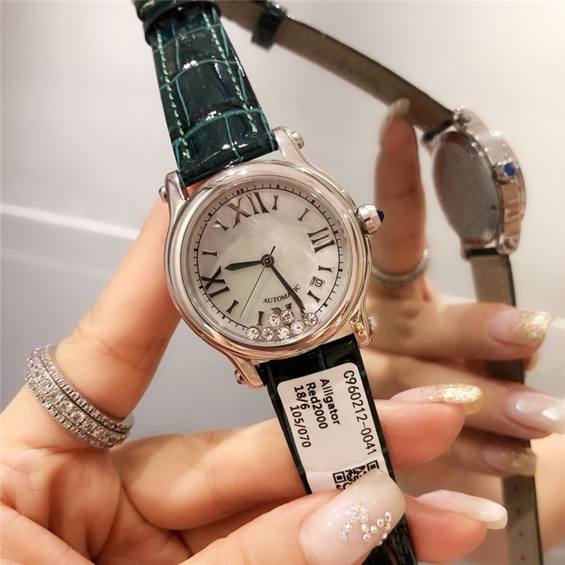 brand C quartz watches 316L stainless case genuine leather stripe  happy gems white pearl watch face shinysilver watch for woman enlarge