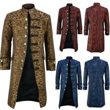 Winter Jacket Mens High-quality Button Fashion Steampunk Vintage Tailcoat Jacket Gothic Frock Uniform Coat jaqueta masculino